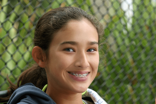 teen girl wearing braces in Roseville, CA