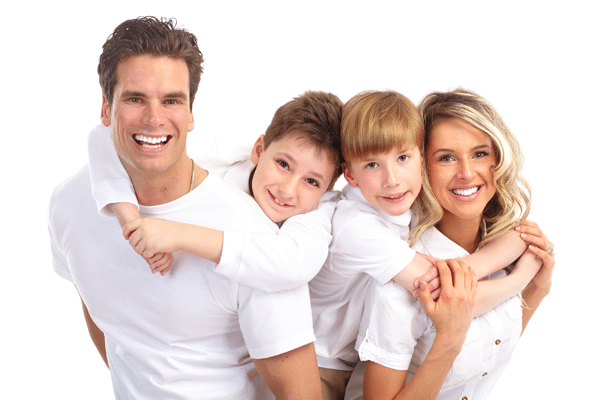 young smiling family wearing all white clothes